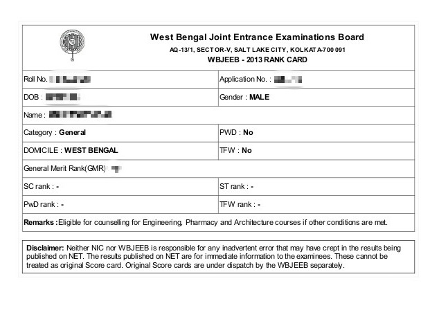 WBJEE Rank Card 2013