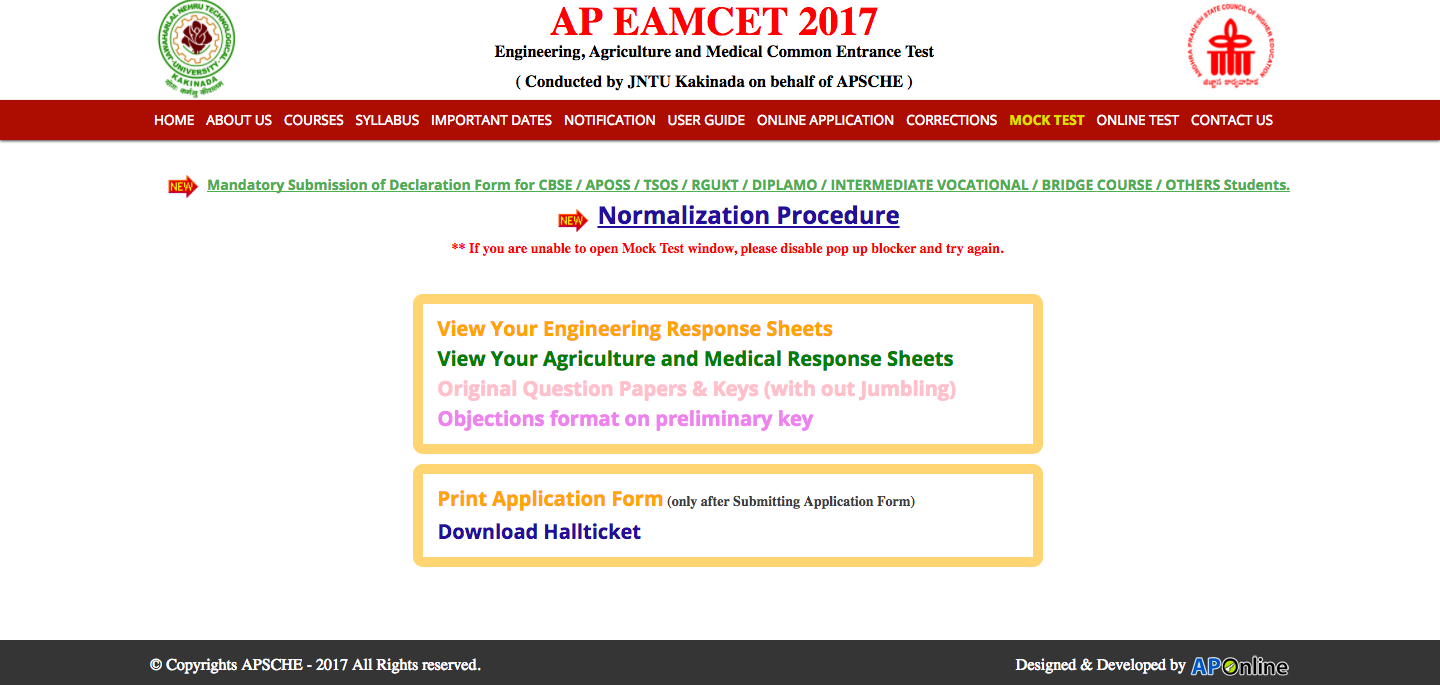 AP EAMCET Answer Key Download Page