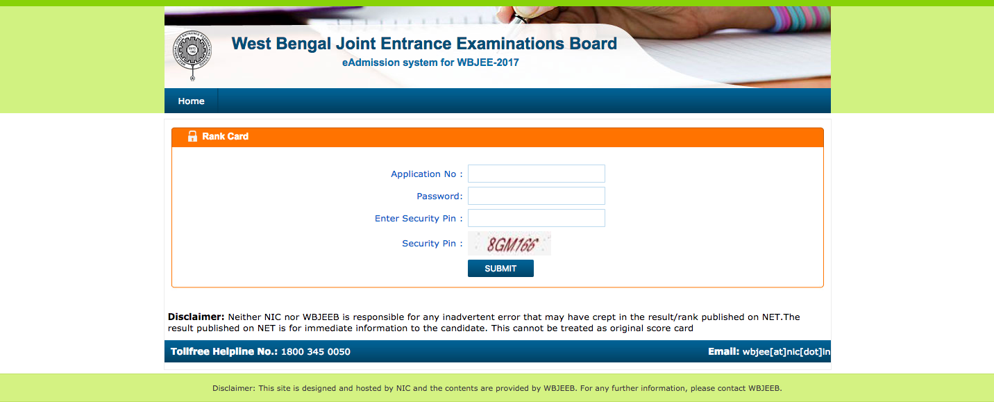 WBJEE Rank Card Login