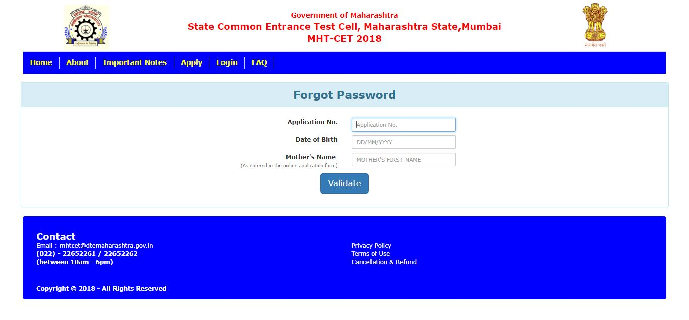 mht cet admit card 2018 forgot password